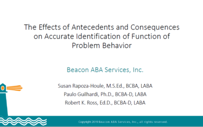"2019 ABAI Presentation: ""The Effects of Antecedents and Consequences on Accurate Identification of Function of Problem Behavior"""